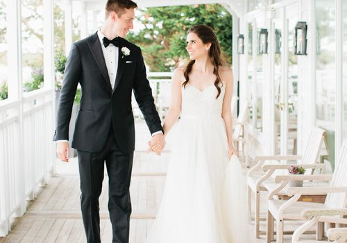 Wedding couple on porch