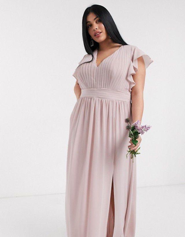 TFNC Plus Bridesmaid Plunge Front Flutter Sleeve Maxi Dress, $108