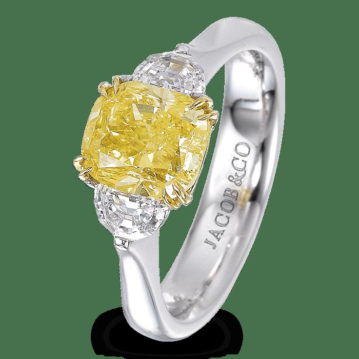 Three-stone yellow diamond ring