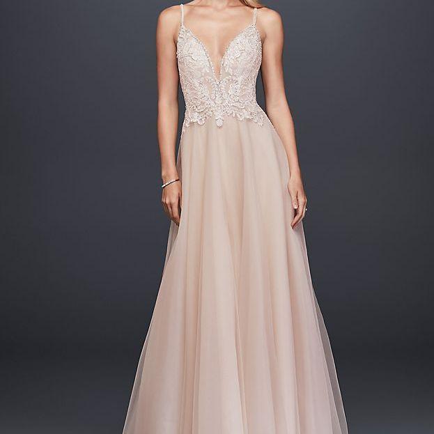 Galina Signature Sheer Beaded Bodice Organza A-Line Wedding Dress