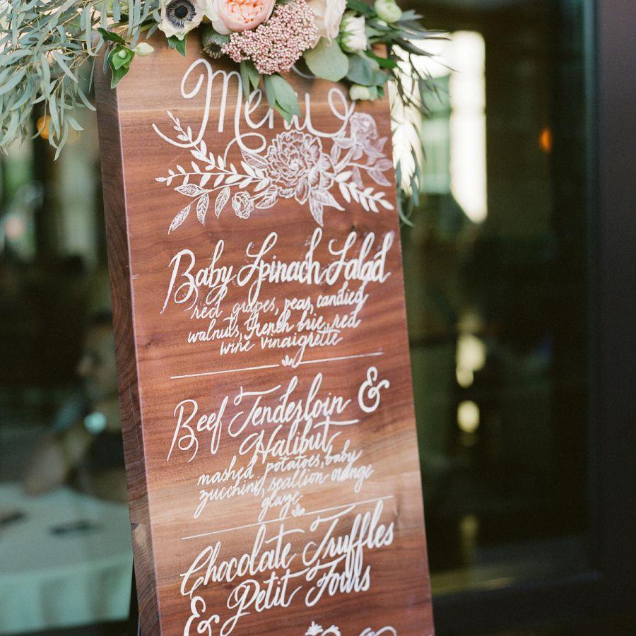 Wedding Menu on Wooden Easel