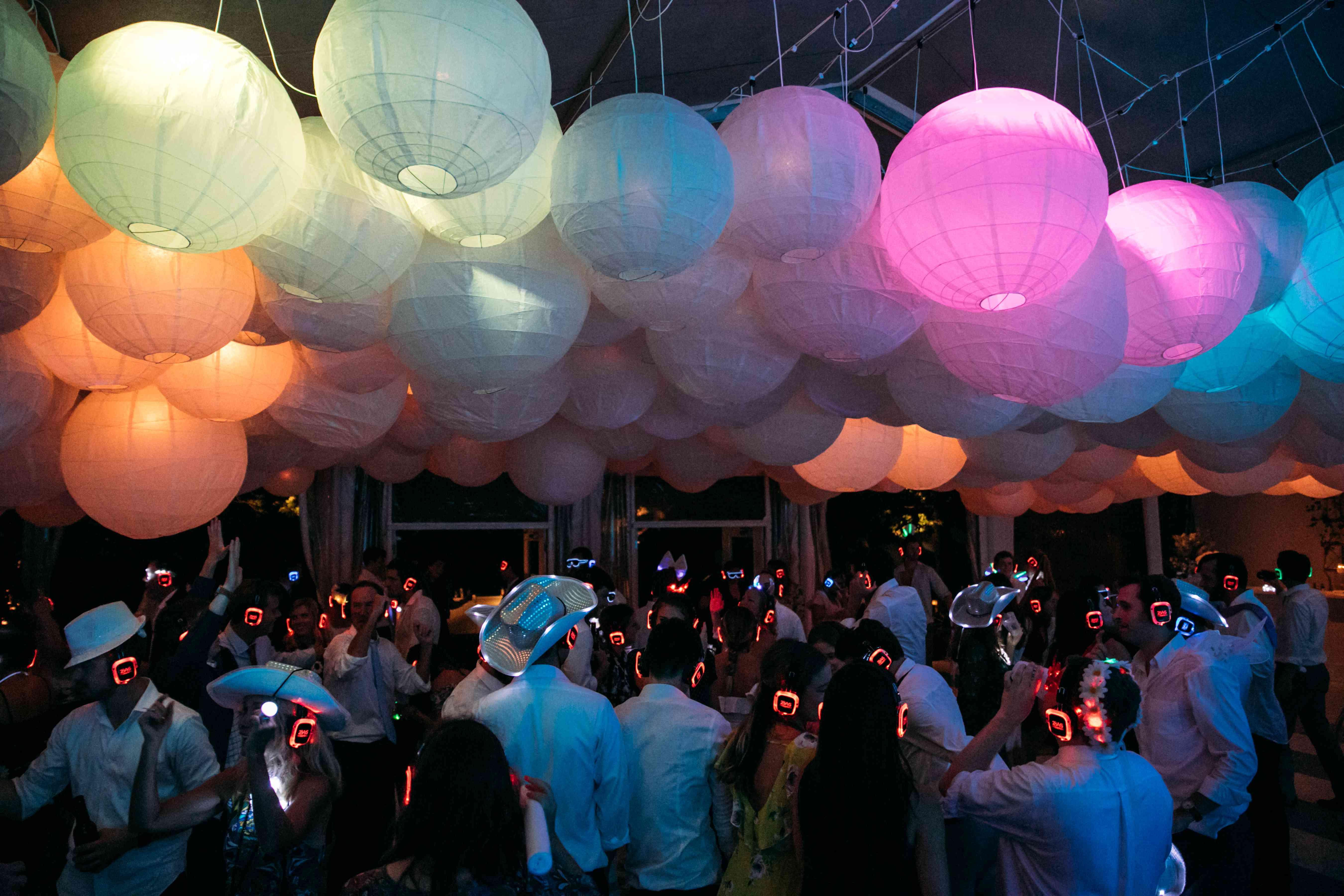 colorful wedding reception colored lights lanterns