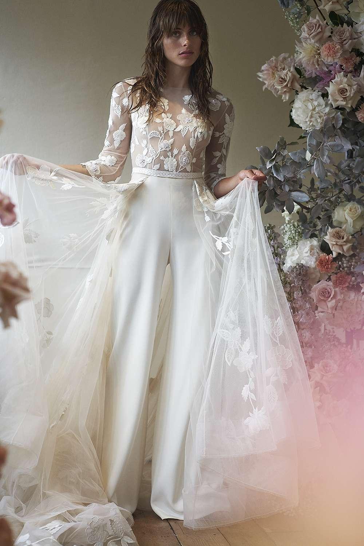 Model in three-quarter-sleeve wedding jumpsuit