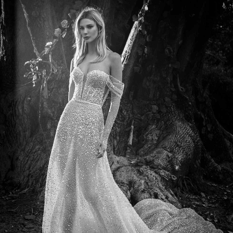 Florence off-the-shoulder embellished wedding dress
