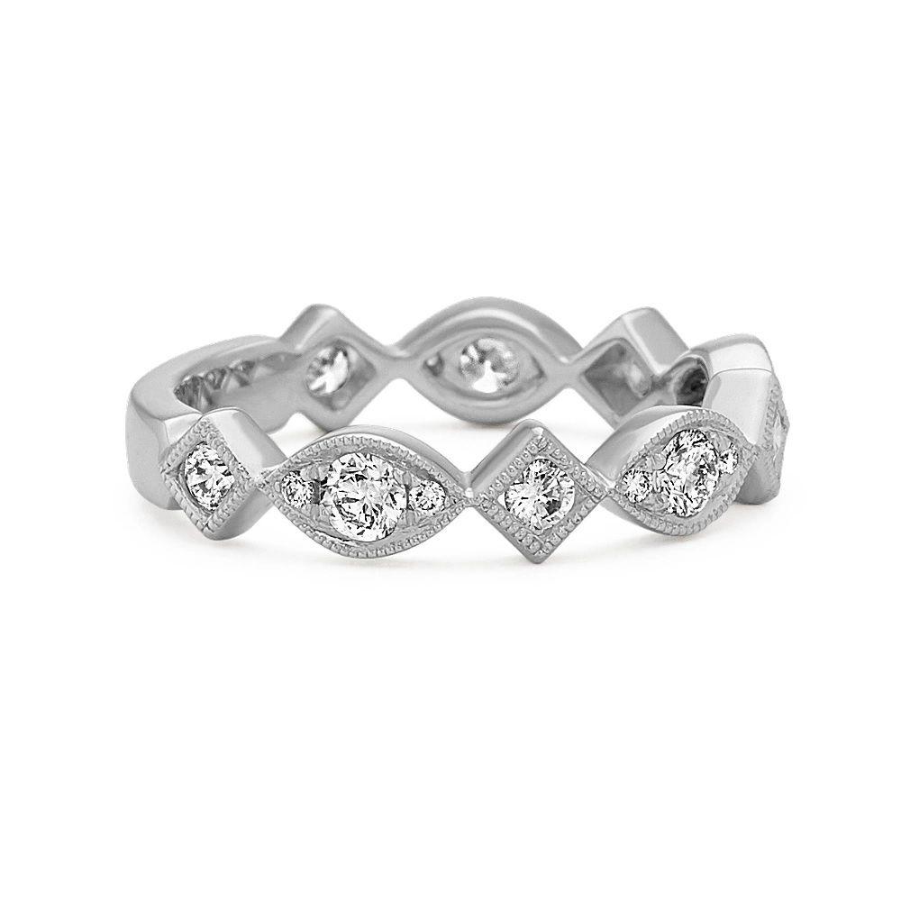 Shane Co. Platinum Wedding Ring With Round White Diamonds