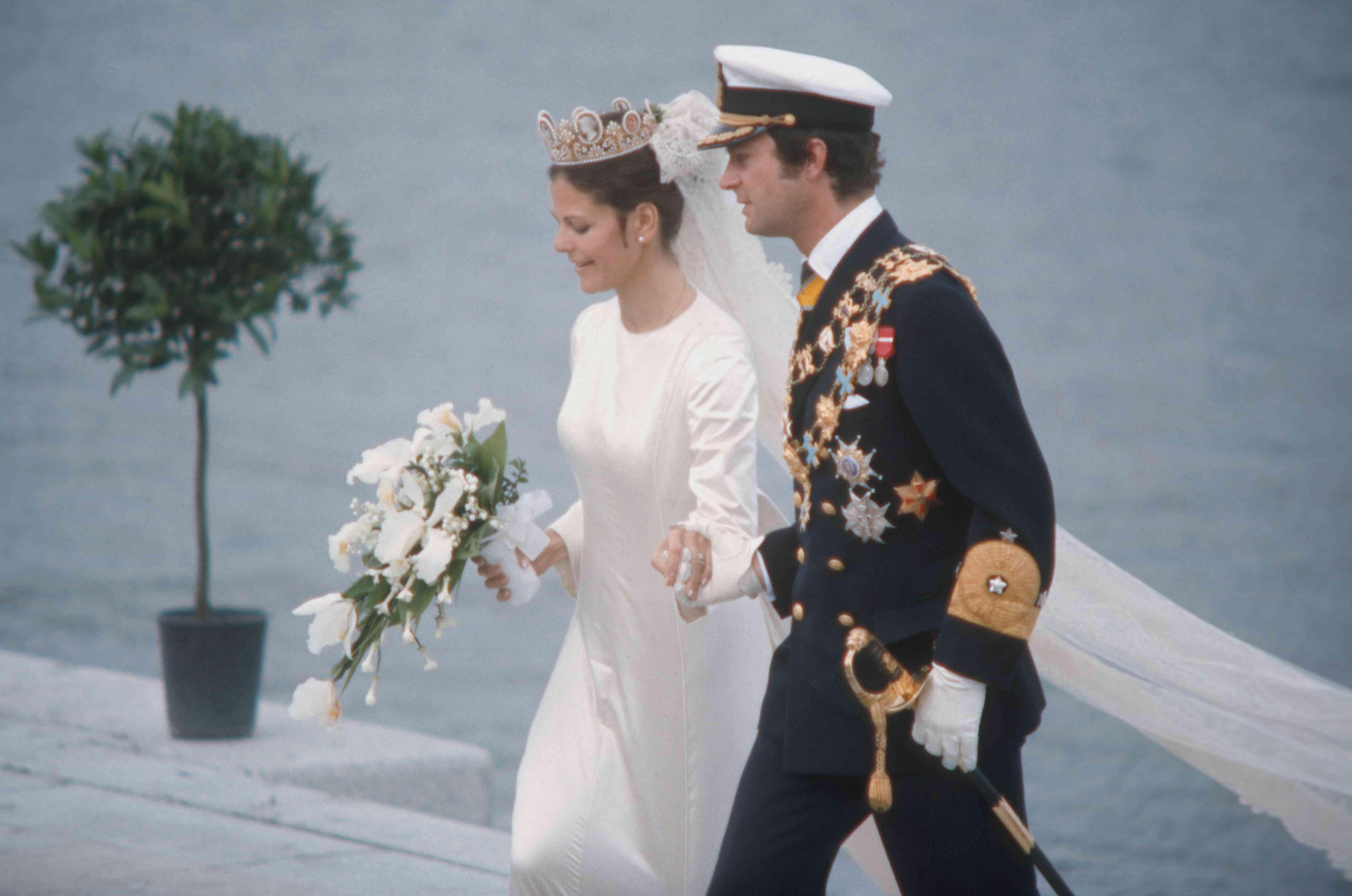 King Carl Gustaf XVI of Sweden and Silvia Sommerlath on their wedding day