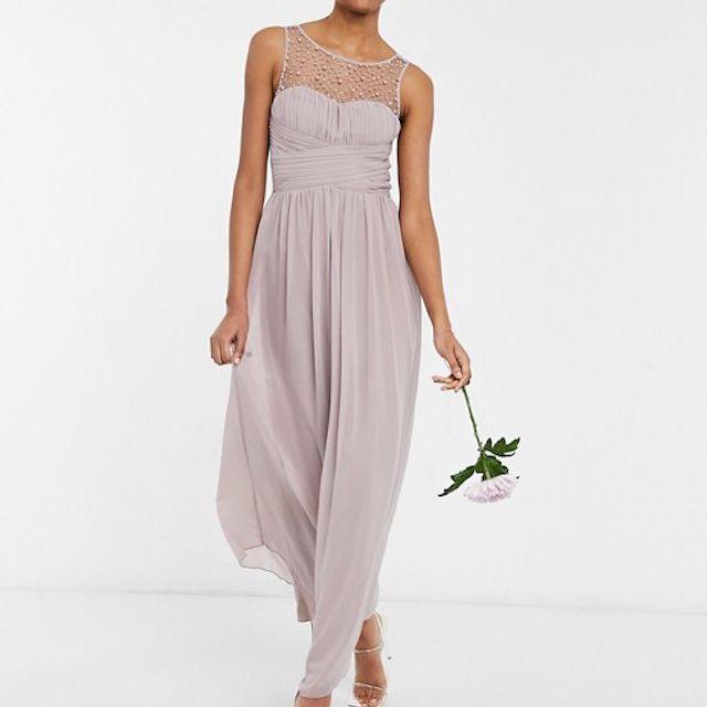 Little Mistress Bridesmaid Chiffon Maxi Dress With Pearl Embellishment