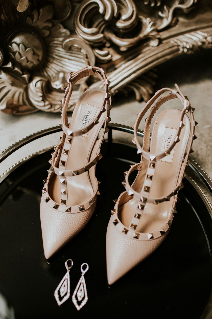 nude shoes with studs