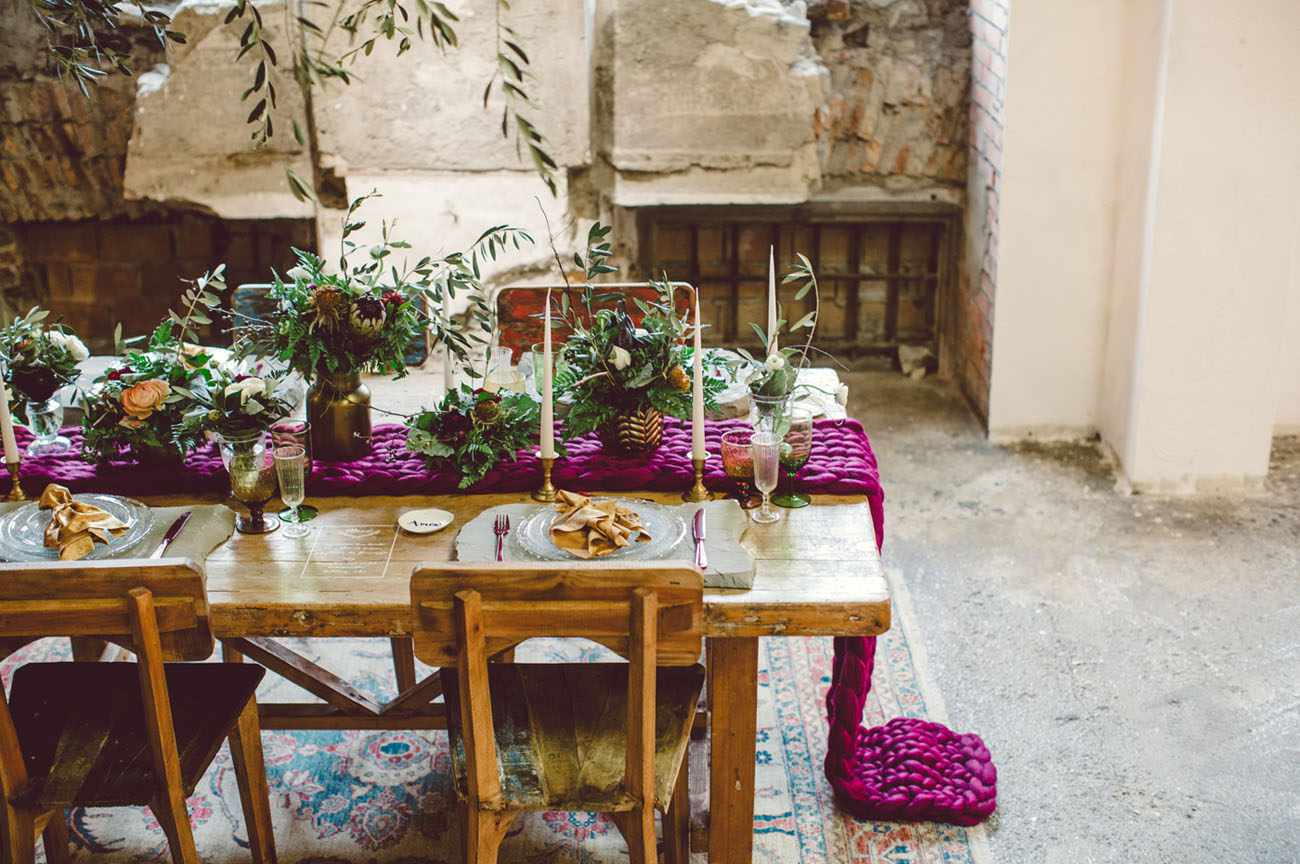 Tablescape with purple knit runner