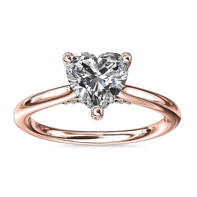 Blue Nile Petite Hidden Halo Solitaire Plus Diamond Engagement Ring