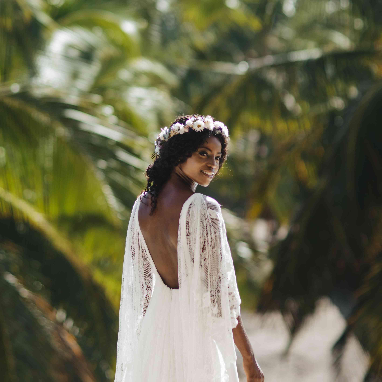 bride low back wedding dress flower crown