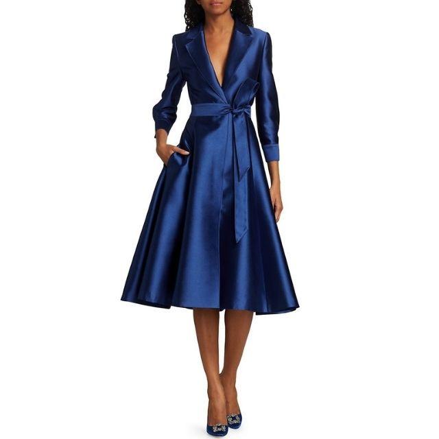 Carolina Herrera Belted Satin Cocktail Jacket Dress