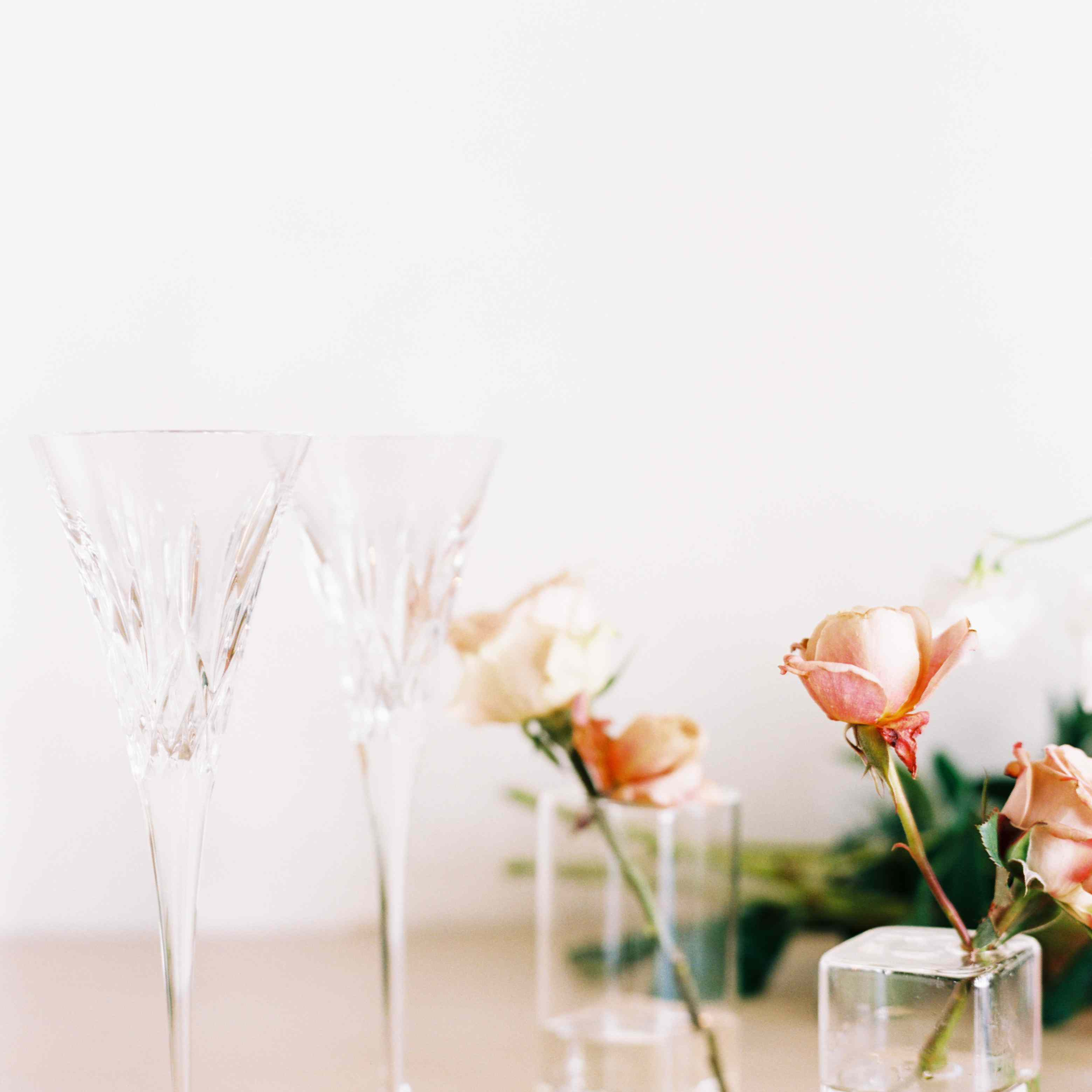 <p>Florals and champagne glasses</p><br><br>