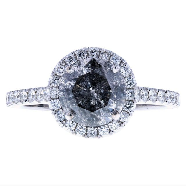 Concierge Diamonds Inc. Salt and Pepper Diamond Engagement Ring with Halo