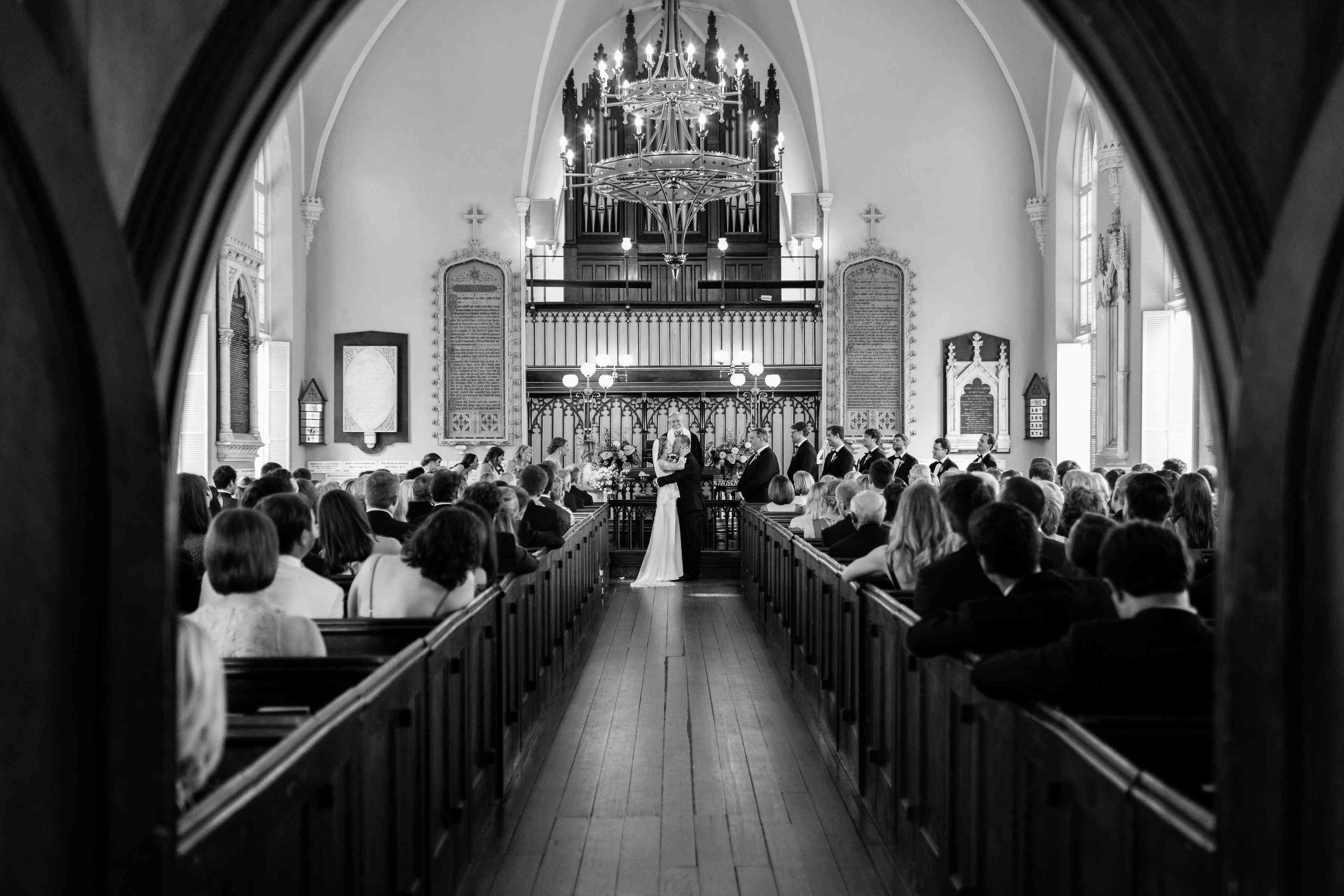 wedding first kiss church