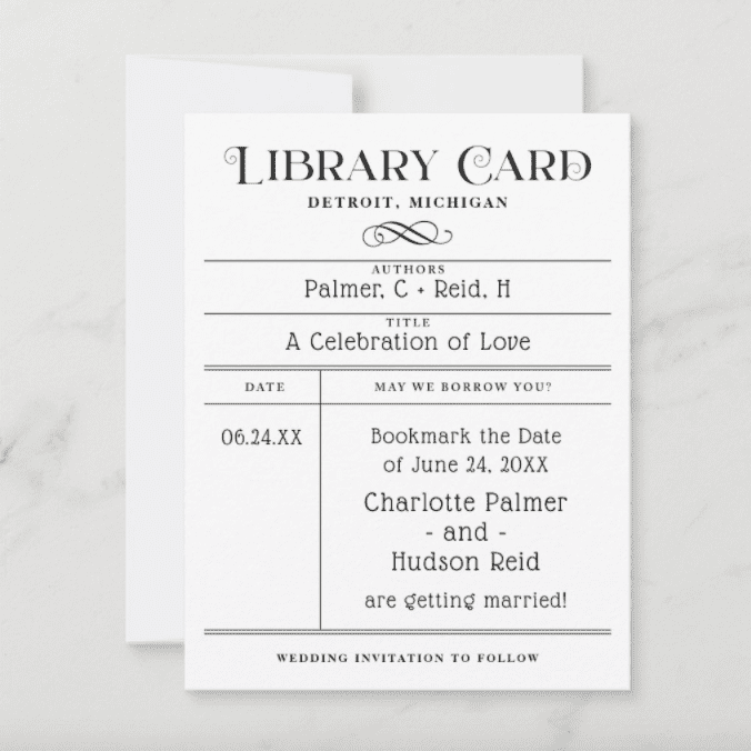 Plus Paper Design Vintage Library Book Card Wedding Save the Date