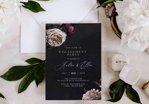Black engagement party invitation with floral print