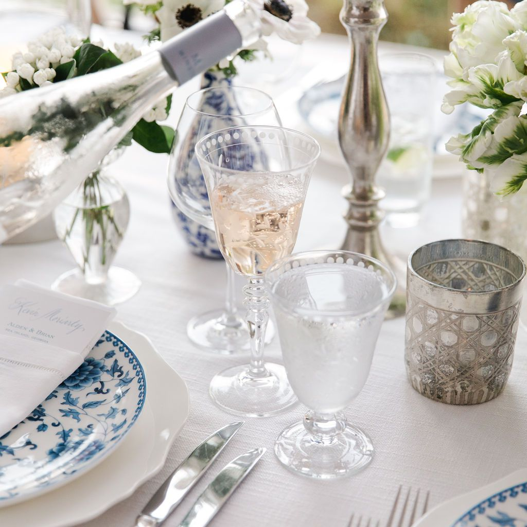 timeless southern wedding, blue and white reception tablescape
