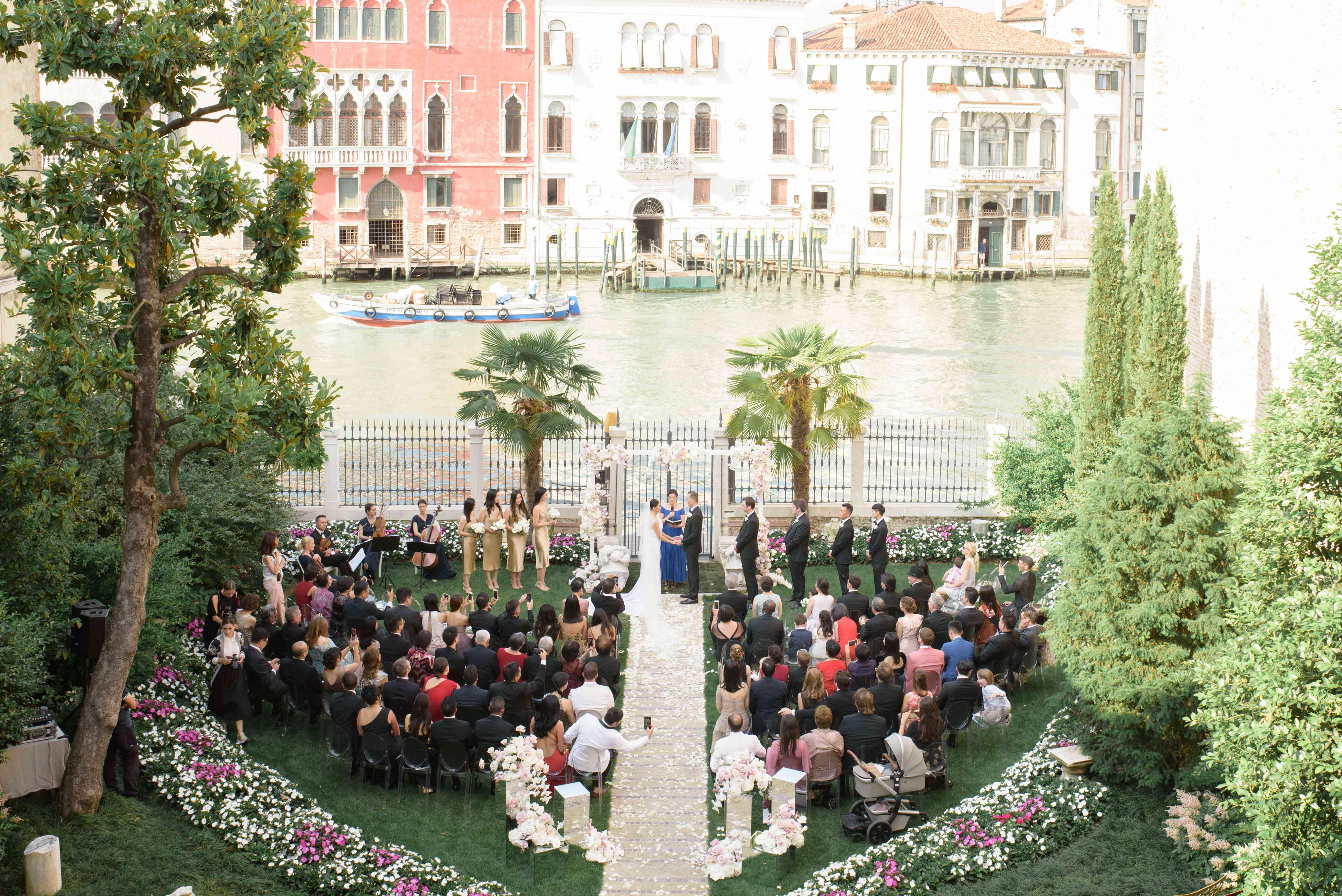 modern venice wedding, garden ceremony grand canal