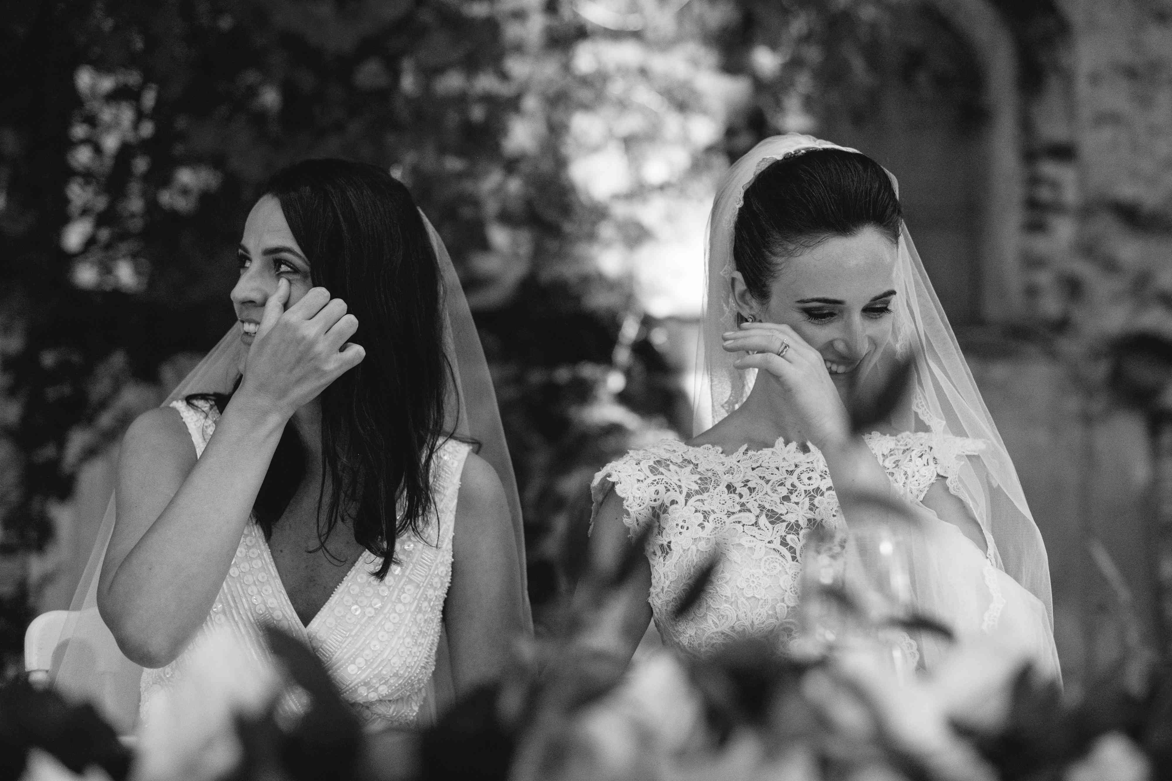 <p>brides wiping away tears</p><br><br>