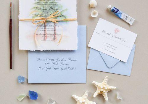 Palm tree beach wedding invitation suite