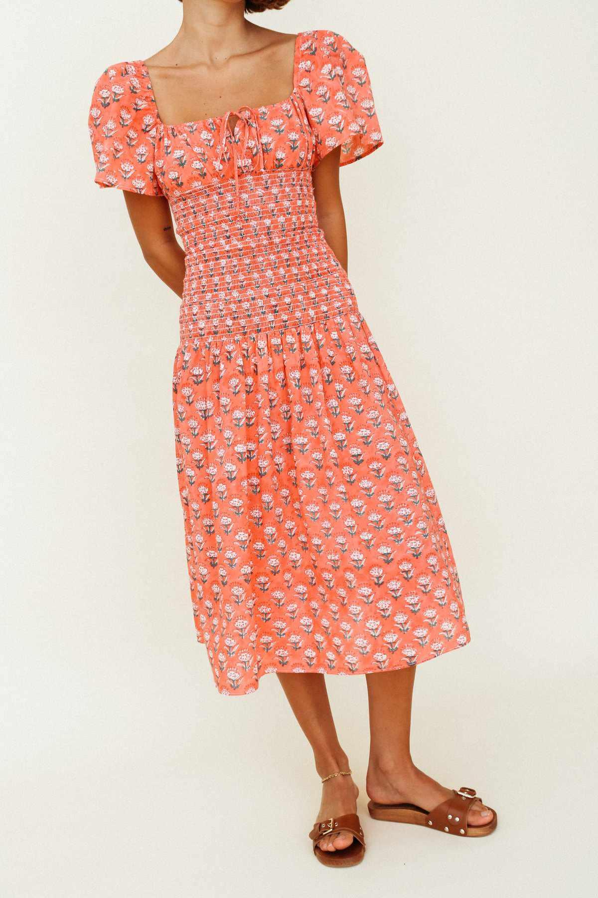 Ciao Lucia Chiara Dress Coral Floral Block Print $395