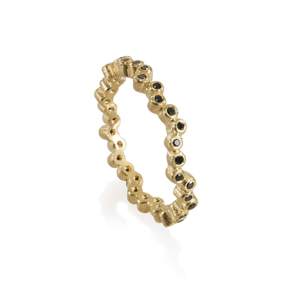 Todd Reed Yellow Gold Eternity Band With Black Diamonds