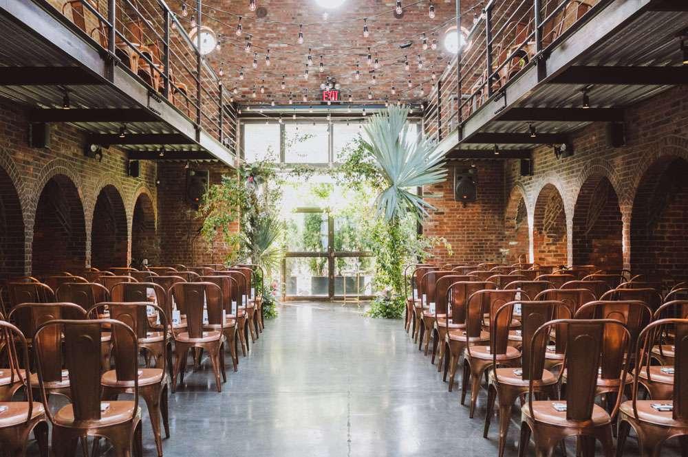 Indoor brick building wedding ceremony