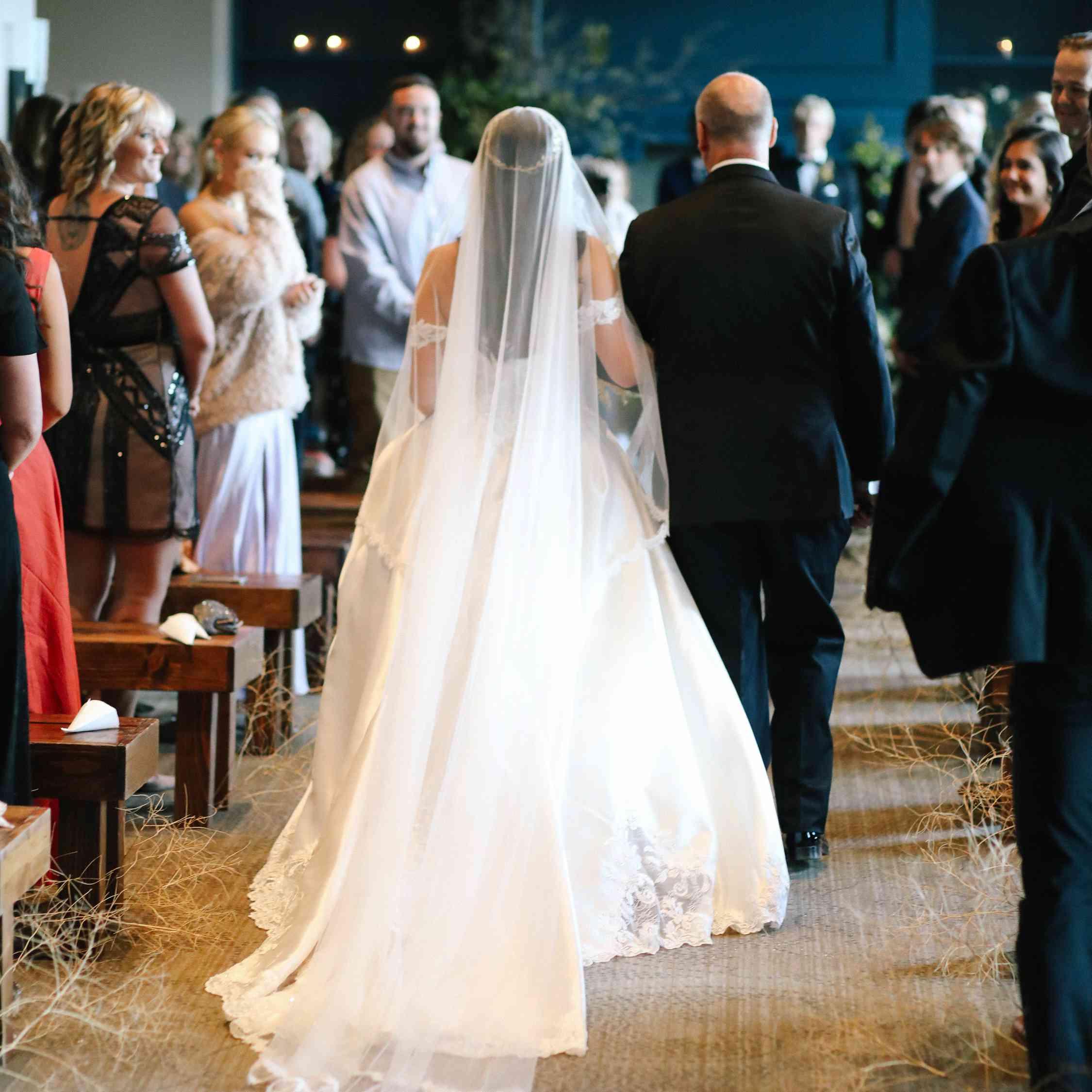 savannah and riker wedding, bride walking down aisle