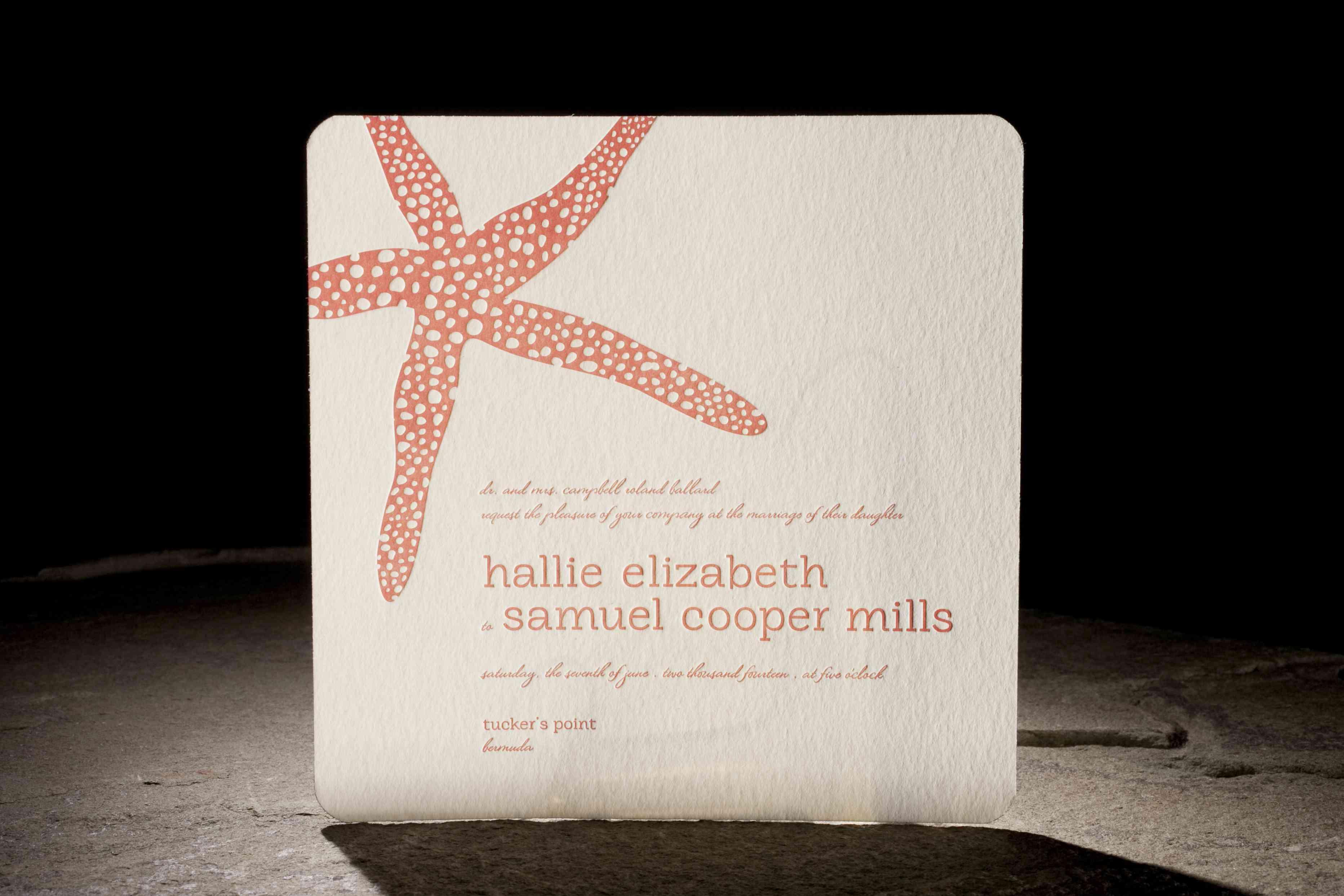coral starfish invitation