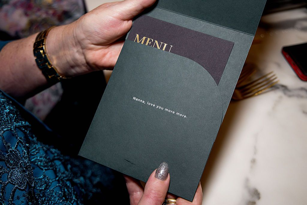 menu with personalized notes