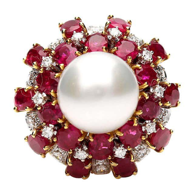 pearl ring with rubies and diamonds