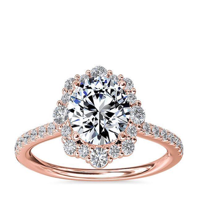 Blue Nile Crescendo Diamond Halo Engagement Ring
