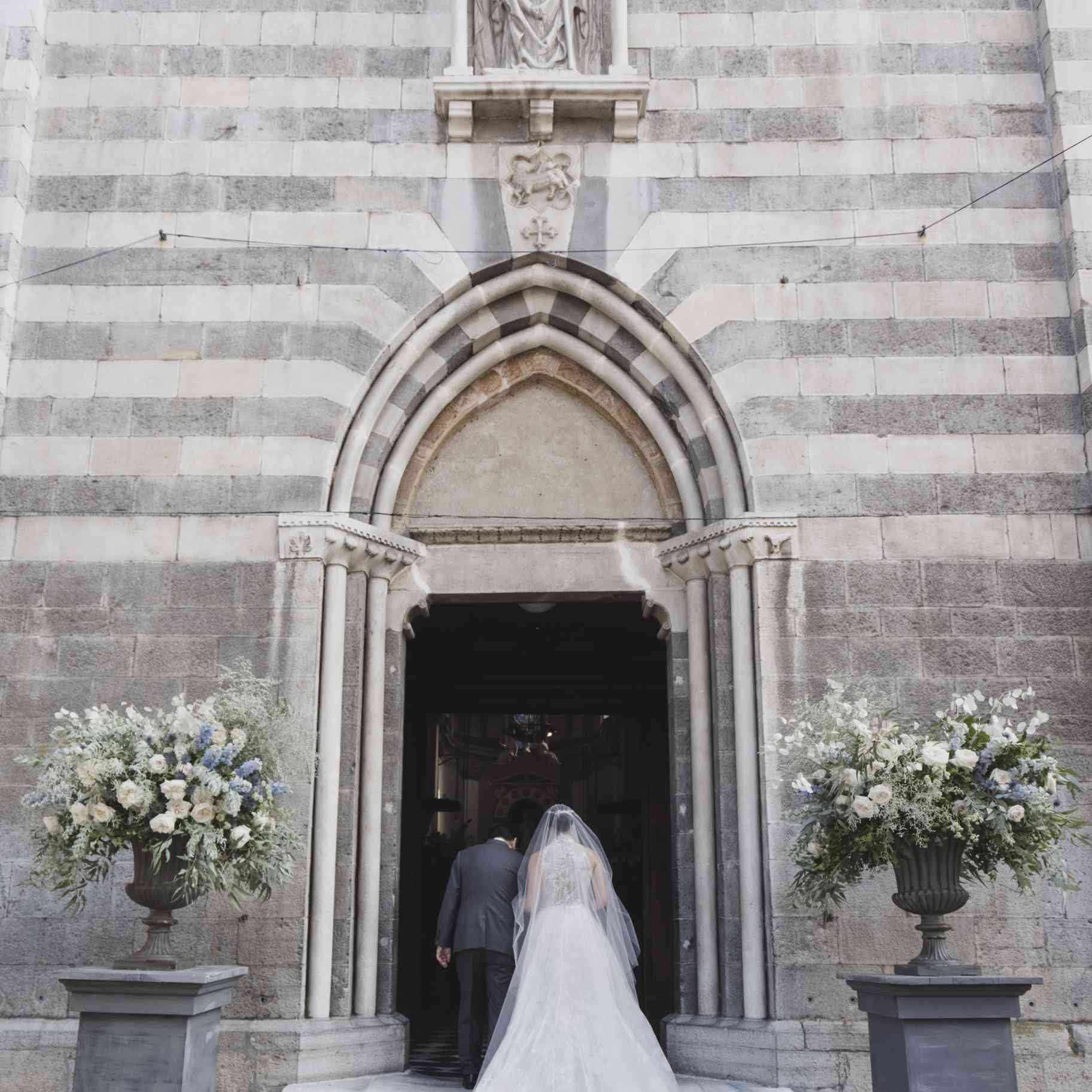 romantic lake como wedding, bride and father entering church