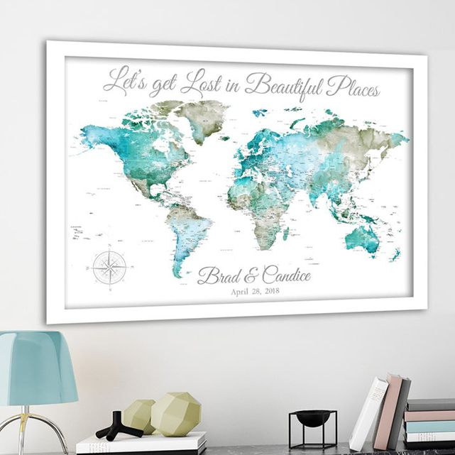 Pushpin World Map for a Couple