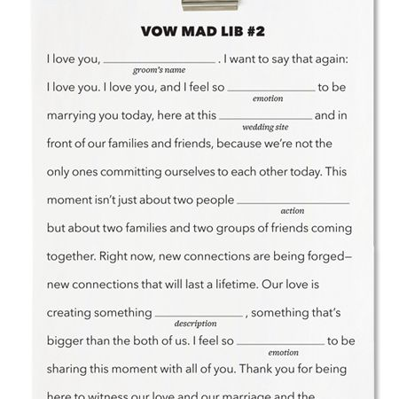Writing Wedding Vows.Mad Libs Meets Marriage Write Your Own Wedding Vows Just By Filling