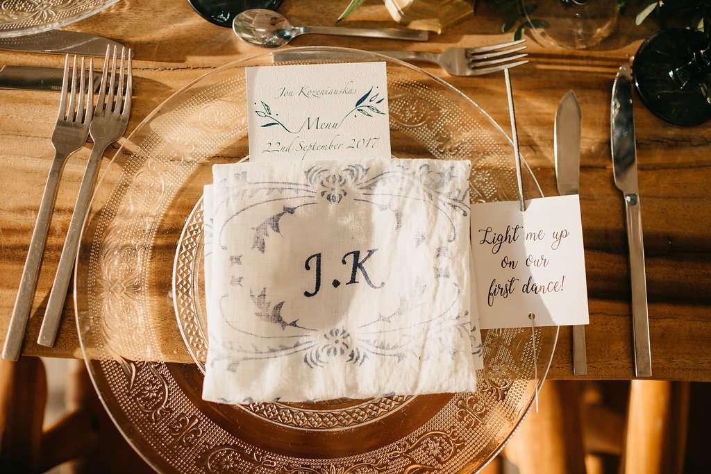 place setting monogram napkins