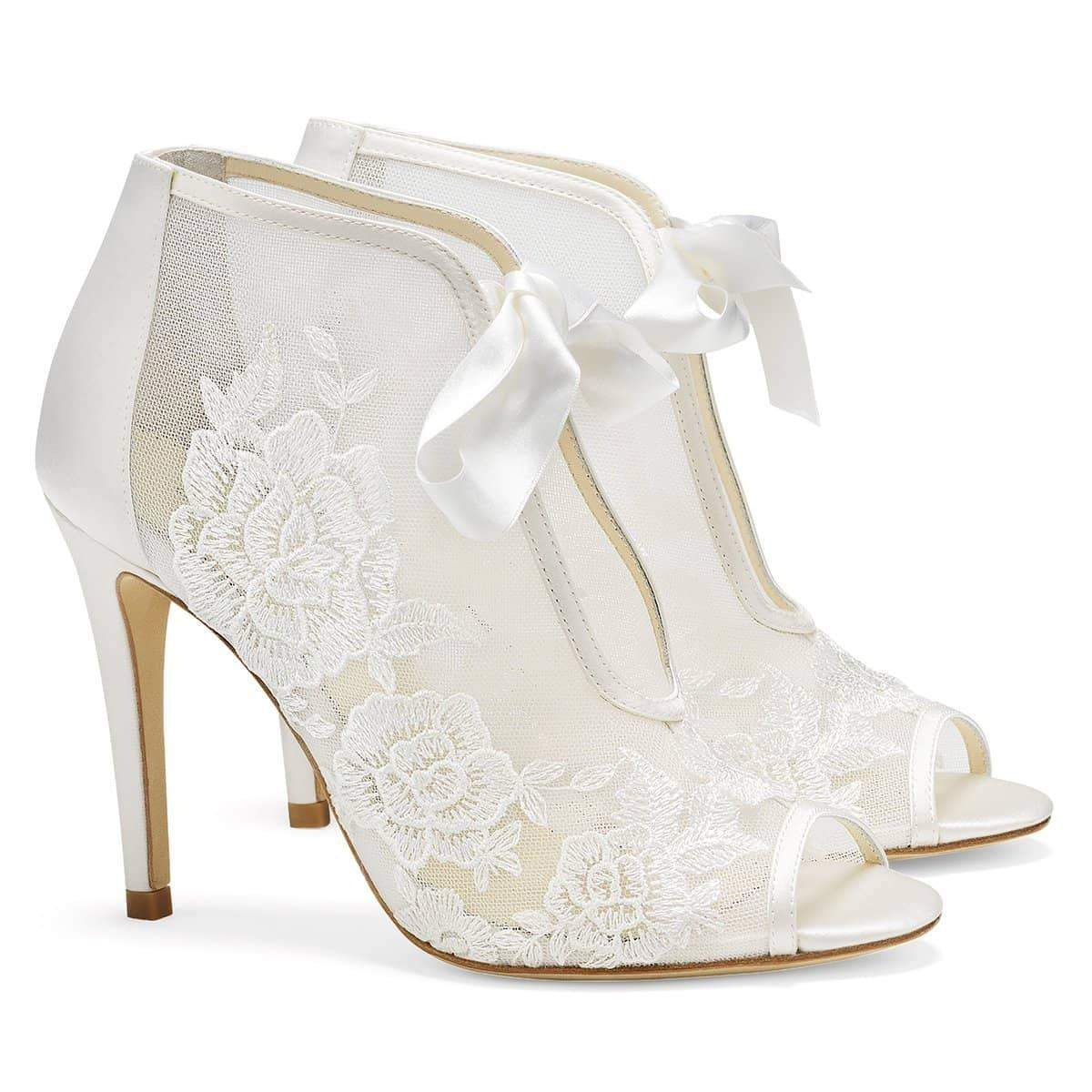 Bella Belle Nikki Ivory Ribbon Tie Lace Embroidered Bootie