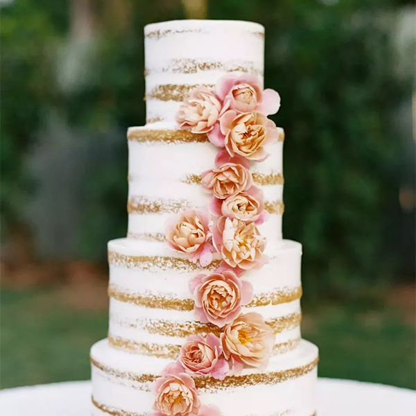 Semi-naked cake with pink flowers