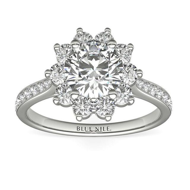 Blue Nile Starburst Floral Diamond Halo Engagement Ring