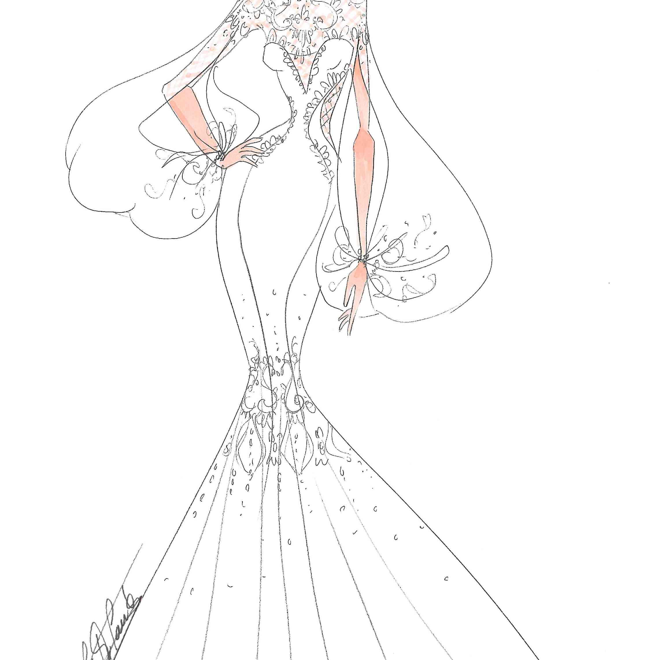 Ines Di Santo Bridal Fashion Week Fall 2020 Sketch
