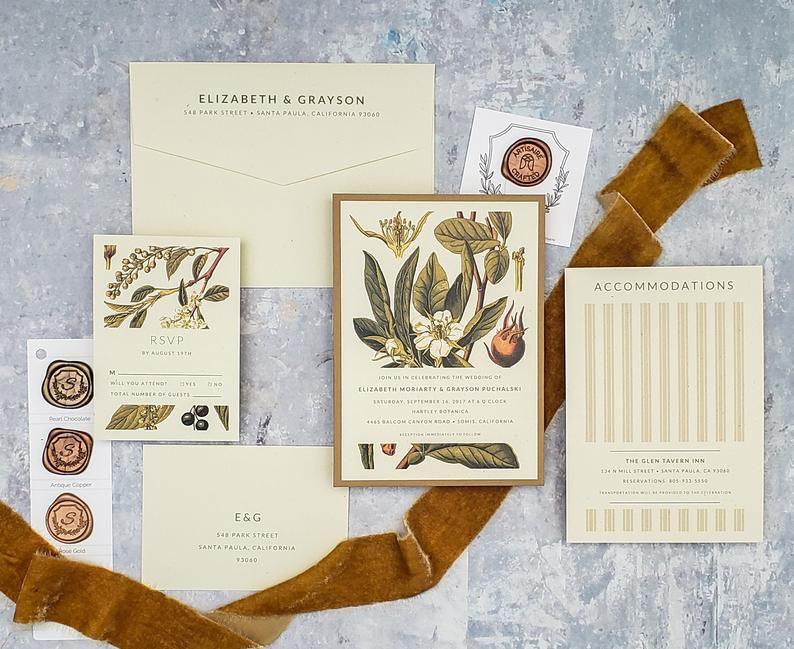 elegant fall botanical wedding invitation suite