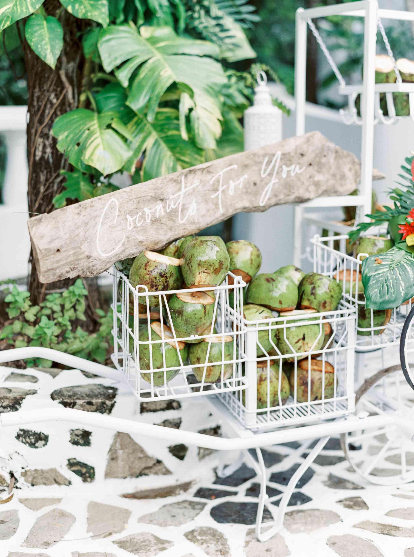 cart of coconuts