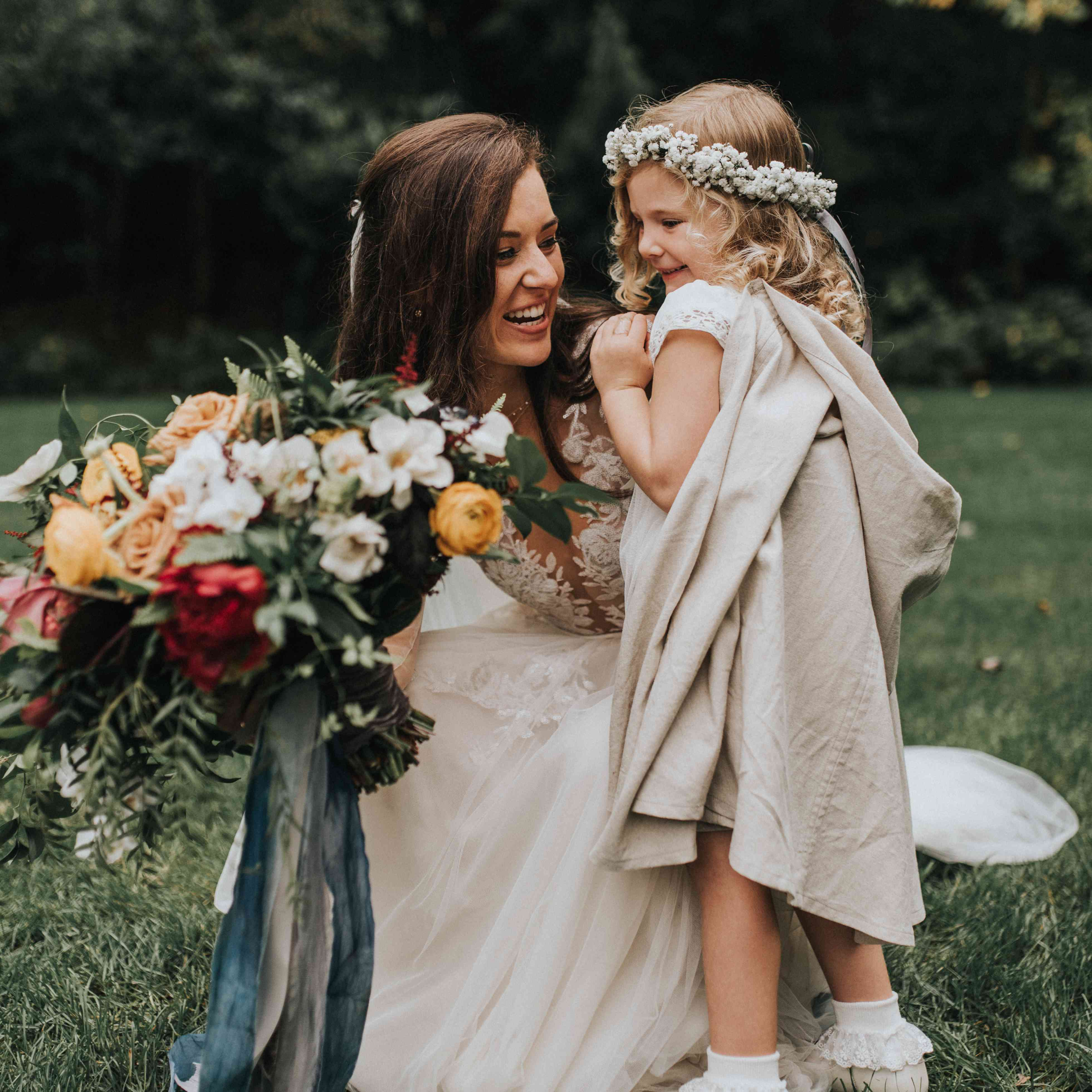 personalized michigan wedding, bride with flower girl