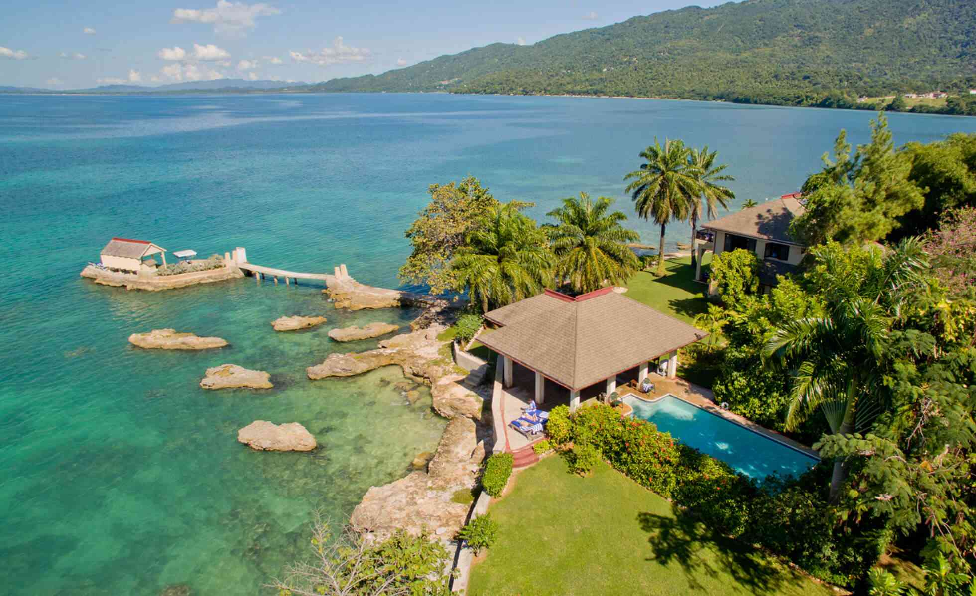 Aerial view of villa with private island at Bluefields Bay Villas in Jamaica
