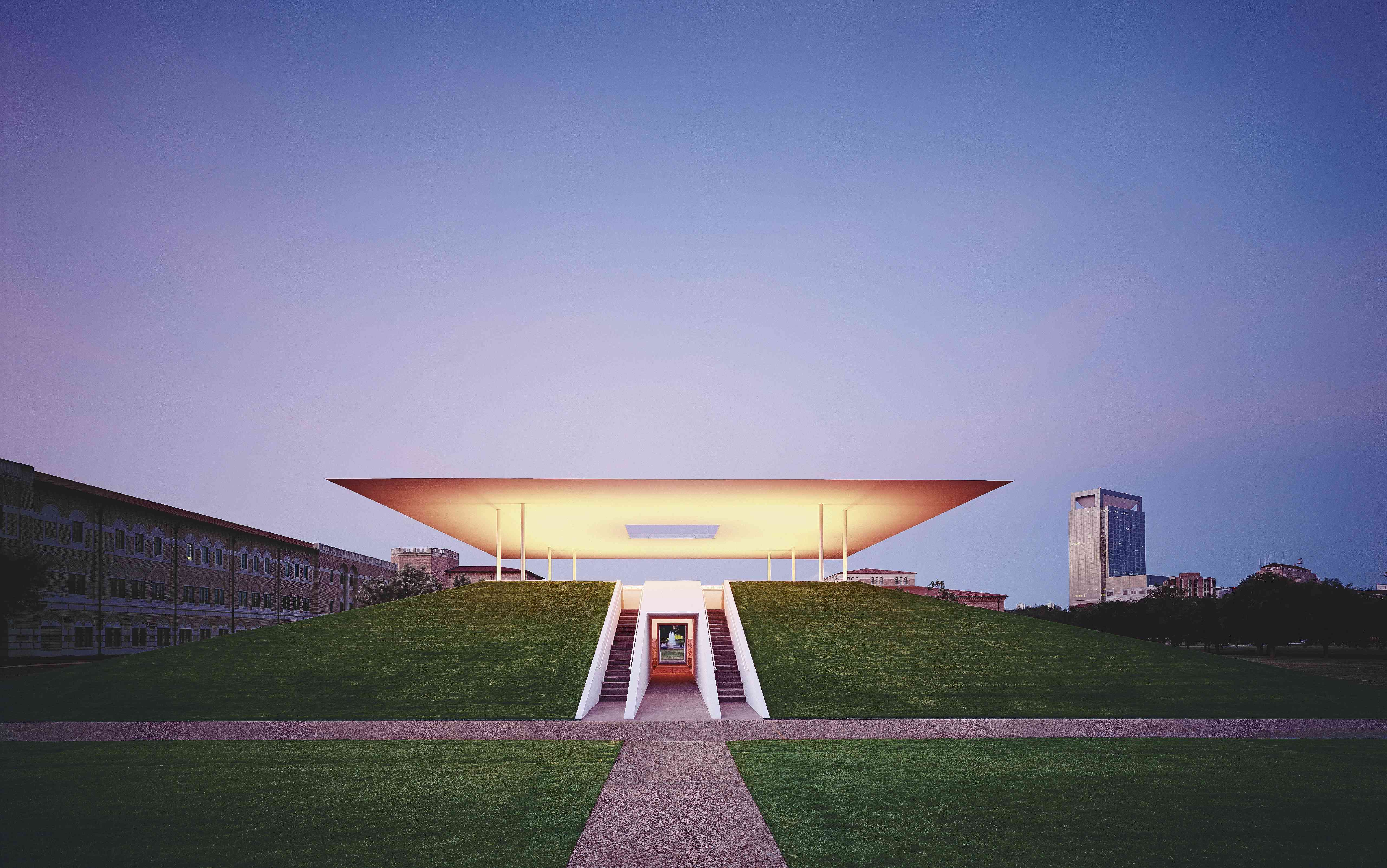 The Skyspace exhibit at sunset at Rice University