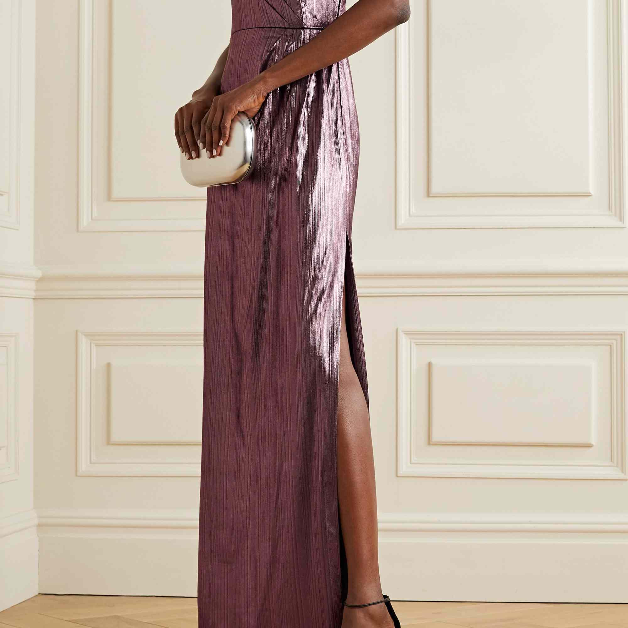 metallic purple dress