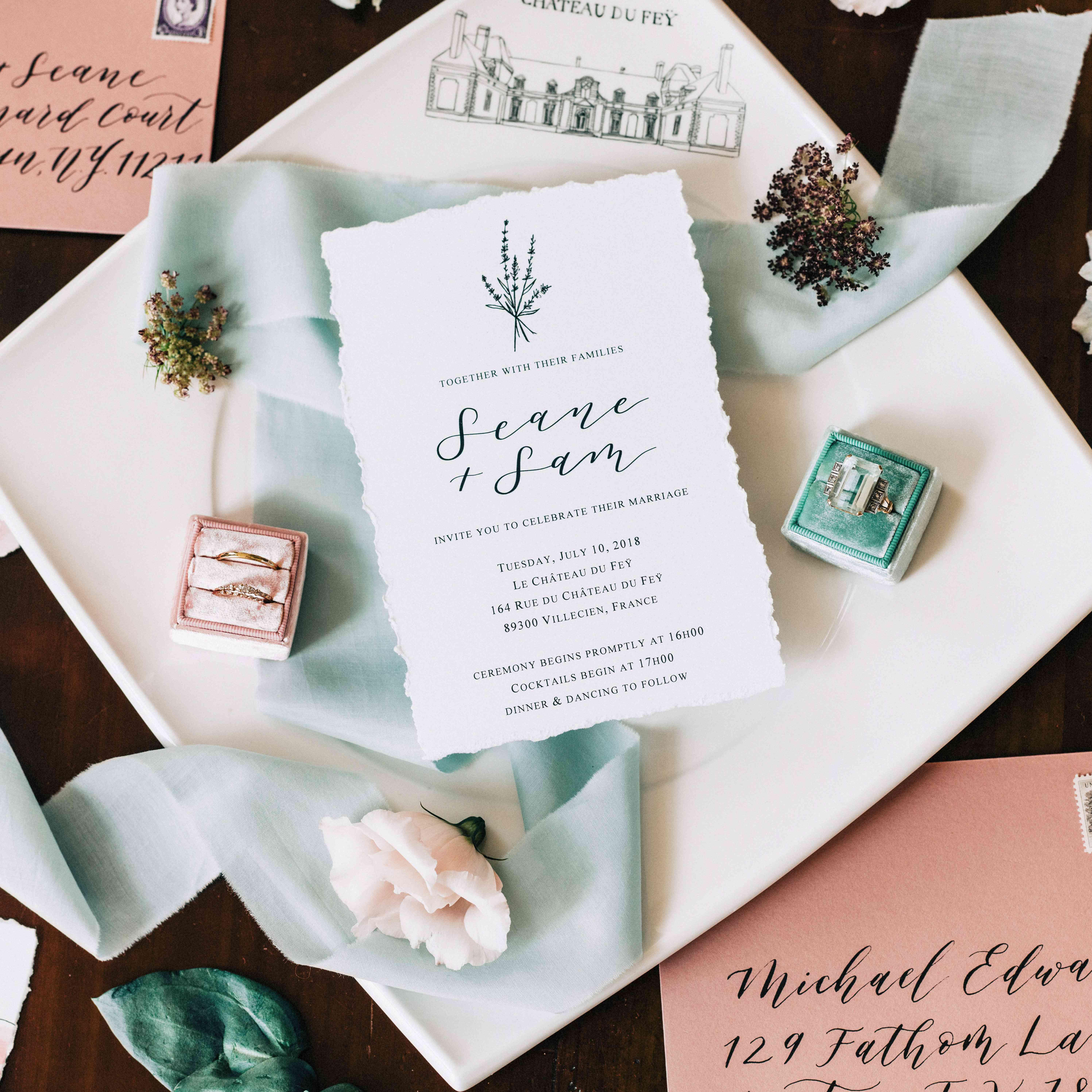 invitation suite wedding rings