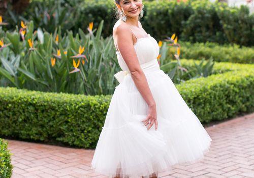Bride in Midi Tulle Wedding Dress