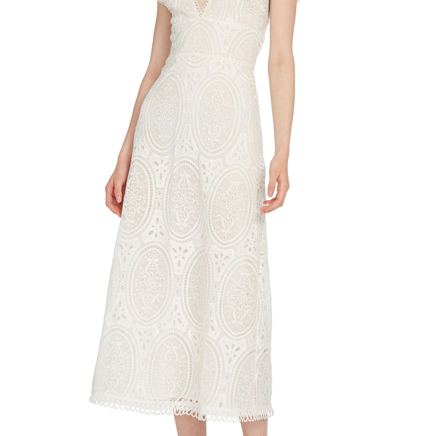 ML Monique Lhuillier Lace Midi Dress $495